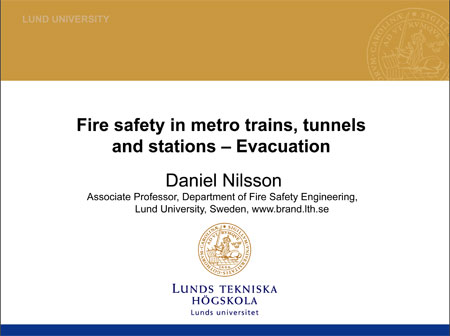 Fire safety in metro trains, tunnels and stations – Evacuation
