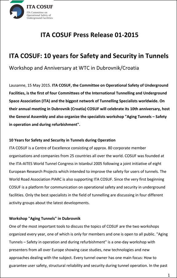 ITA COSUF: 10 Years for Safety and Security in Tunnels